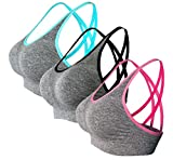 AKAMC Women's Removable Padded Sports Bras Medium Support Workout Yoga Bra 3 Pack,Large, Style 5 (Grey with Black/Pink/Blue)