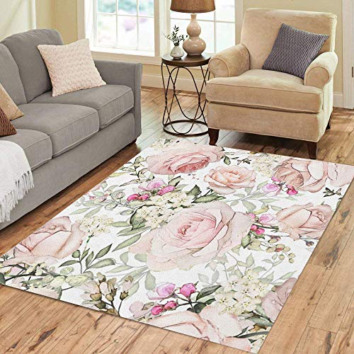 Pinbeam Area Rug Pink Flowers and Leaves on Watercolor Floral Pattern Home Decor Floor Rug 5' x 7' Carpet (Graphic Rose Rug)