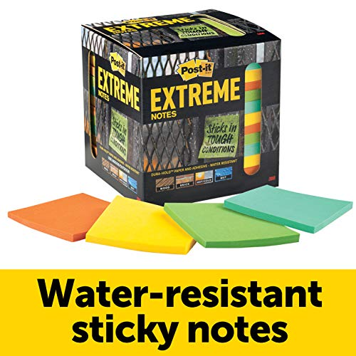 Post-it Extreme Notes, Green, Orange, Mint, Yellow, Great for Tough Conditions, Features Dura-Hold Paper and Adhesive, Recyclable Box, 3 in x 3 in, 12 Pads/Pack, 45 Sheets/Pad (EXTRM33-12TRYX) ()