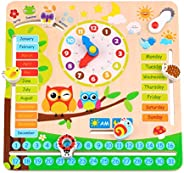 Wooden Toys Educational Teaching Clock (Development Toys, Great Gift for Girls and Boys)