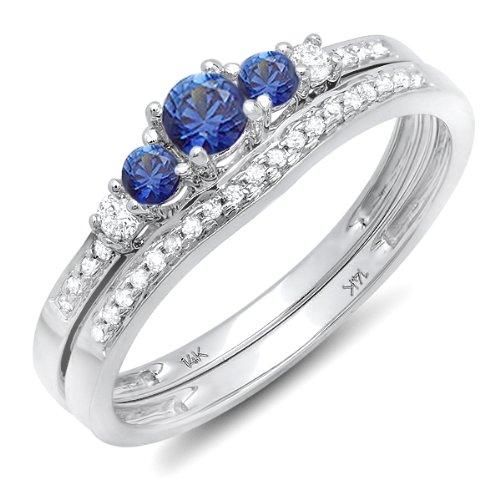 14K Or blanc Saphir bleu et diamant Blanc 5pierre de mariage Ensemble de bague de fiançailles
