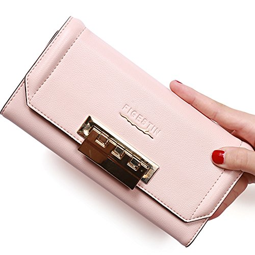 [Clearence] FIGESTIN Women RFID Brocking Wallet Large Capacity Genuine Leather Card Holder Clutch Purse
