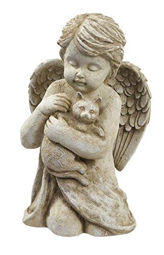 Cement Garden Statue (Beloved Cherub Angel Holding a Cat Pet Memorial Bereavement Garden Statue Figurine)