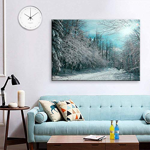 - wall26 Canvas Wall Art - Red Pine Tree Forest Covered in Snow - Giclee Print Gallery Wrap Modern Home Decor Ready to Hang - 24