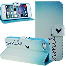 Nsstar iPhone 5s Case,iPhone 5 Case,iPhone 5s Case Wallet,iPhone 5s Cover,Stand Case for iPhone 5s 5,Colorful Painted Drawing Luxury Fashion Light Blue Smile Little Love Shape Pattern Wallet Pu Leather Flip Folio Stand Case Cover Pouch With Credit ID Card Holder Slots for iPhone 5S 5 (Smile Love)