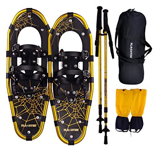 FLASHTEK Snowshoes for Men and Women, Light Weight Aluminum Terrain Snowshoes (Gold with Poles, 30)