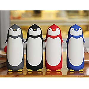 ChezMax Penguin Cartoon Water Bottle for Kids Water Glass 10.0oz Gray