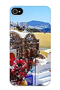 Freshmilk New Arrival YJl117WwyXz Premium Iphone 4/4s Case(mountains Coast Cityscapes Buildings Greece Bougainvillea )