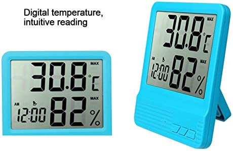 Greenhouse Babyroom Indoor Thermometer,Temperature Humidity Monitor,me Display and Built-in Clock,LCD Display for Home Car YUIOP Digital Hygrometer Office