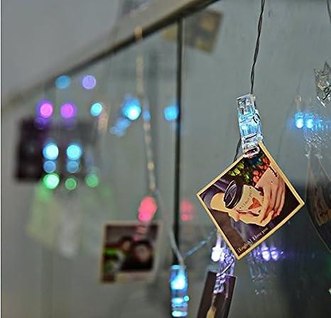 Cadena de luces LED con pinzas para fotos, perfecta para colgar fotos, notas, dibujos, 3 metros: Amazon.es: Iluminación