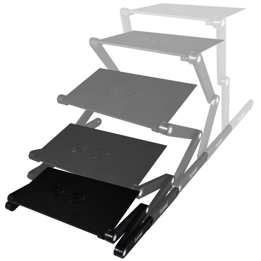 Ouneed Laptop Stand with Cooling Fan, Adjustable Laptop Desk for Bed, with Mouse Tray for Right-Handed&Lefty Laptop Table, Portable