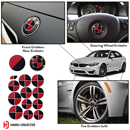 Haru Creative - Vinyl Overlay Aftermarket Decal Sticker Compatible with and Fits All BMW Emblem Caps for Hood Trunk Wheel Fender (Emblem Not Included) - 4D Carbon Fiber Black and Red ()