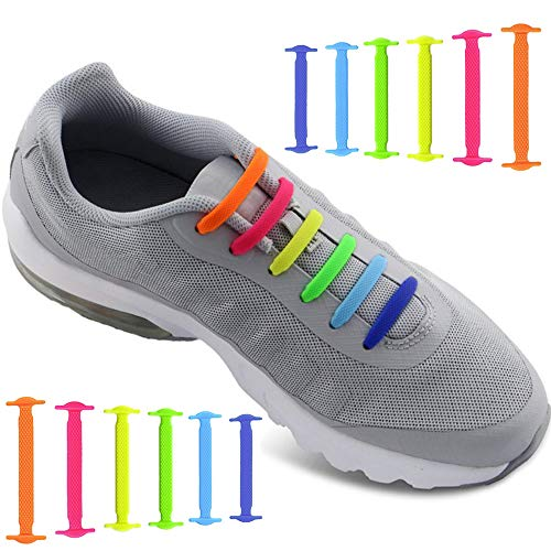 No Tie Shoelaces for Men and Women - Best in Sports Fan Shoelaces â Waterproof Silicon Flat Elastic Athletic Running Shoe Laces with Multicolor for Sneaker Boots Board Shoes and Casual Shoes (Rainbow)
