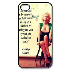 wugdiy Customized Hard Back Case Cover for iPhone 4,4S with Unique Design Marilyn Monroe Quotes