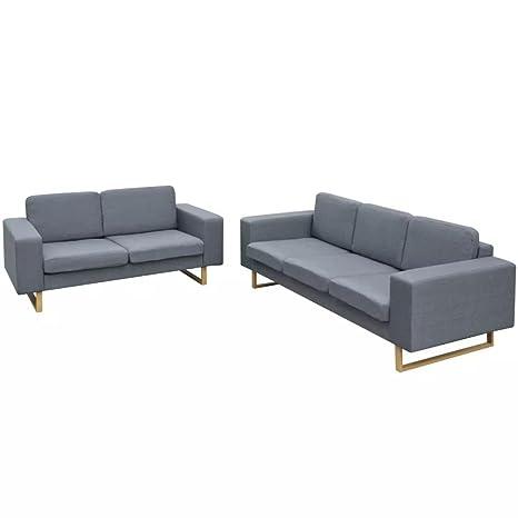 vidaXL Conjunto de Sofás de 2 y 3 Plazas Gris Claro Tamaño 200 x 82 x 76 cm