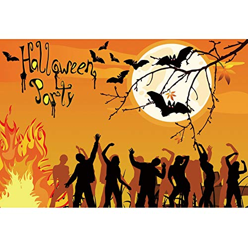 YongFoto 10x7ft Halloween Backdrop Halloween Party Photography Background Outdoor Bonfire Party Bat and Full Moon for Adult Carnival Party Adults Photo Booth Photocall Shooting Studio Props]()