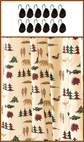 Northern Exposure Wildlife Shower Curtain & Pine Cone Shower Hooks (Northern Exposure Drape)