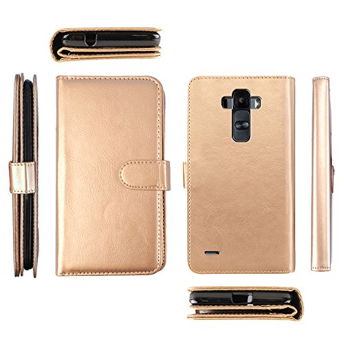 NextKin LG G Stylo LS770 G4 Note G Vista 2 H740 2nd 2015 Case, Premium PU Leather Dual Wallet Folio TPU Cover, 2 Large inner Pockets Double flap Privacy, 9 Card Slots Holder Magnetic Closure - Gold (Lg G Vista Wallet Phone Case compare prices)