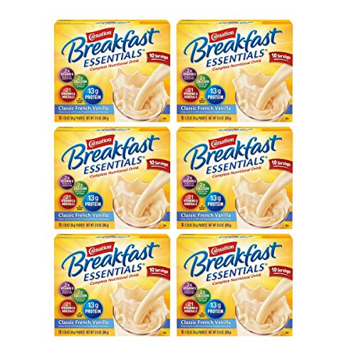 Carnation Breakfast Essentials Powder Drink Mix, Classic French Vanilla, 10 Count Box of 1.26 oz Packets, 6 Pack (Classic French Vanilla, 60 Count)