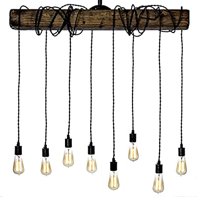 Farmhouse Style Light Fixture - Wrapped Wood Beam Antique Decor Chandelier Pendant Lighting - Vintage Kitchen, Bar, Industrial, Island, Billiard and Edison Bulb Decor. Natural Reclaimed Style Wooden - HANDMADE IN THE USA - Each light is slightly unique due to the distressed nature of the board. The light i comes with a 12inch steel downrod which attaches to the ceiling canopy. If you need additional length pipes, please message us after purchase. MADE WITH REAL DISTRESSED BEAM AND PORCELAIN SOCKETS - Wired for connection to an electrical box in the ceiling with extra cord. This rectangle shaped fixture will look great in rooms with high or low clearances. Our customers have installed our lights on tall ceilings, as a transition piece in restaurants, or even above pool tables. This classic look will fit in any space. ADJUSTABLE CORD LEGTH - This walnut color pendant fixture comes with 6 feet of braided cable for each light - bulbs sold separately. Our unique design allows you to choose the length and wrap style of the cord that suits your desired look. - kitchen-dining-room-decor, kitchen-dining-room, chandeliers-lighting - 51LfHmFhXXL. SS400  -