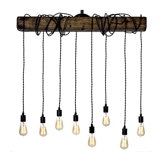 Farmhouse Lighting Wrapped Wood Beam Farmhouse Chandelier Pendant Light Fixture - Rustic Lighting Great for Kitchen Island Lighting, Dining Room, Bar, Industrial, and Billiard or Pool Table - Unique Farmhouse Lights: Each rustic light is unique and will captivate your family and friends Complete Your Dream Home: Each rustic chandelier is majestic, making any room truly shine Rustic Light Fixtures Made in the USA: Every farmhouse light fixture is handmade in Philadelphia, PA - kitchen-dining-room-decor, kitchen-dining-room, chandeliers-lighting - 51LfHmFhXXL. SS570  -
