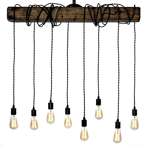 Farmhouse Style Light Fixture - Wrapped Wood Beam Antique Decor Chandelier Pendant Lighting - Vintage Kitchen, Bar, Industrial, Island, Billiard and Edison Bulb Decor. Natural Reclaimed Style (Aged Walnut Pendant)