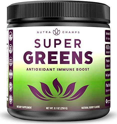 Super Greens Antioxidant Superfood Powder - Organic Green Veggie & Fruit Whole Foods for Immune System Support - Wheat Grass, Spirulina, Elderberry & More - Vegan Juice Supplement, Sweet Berry