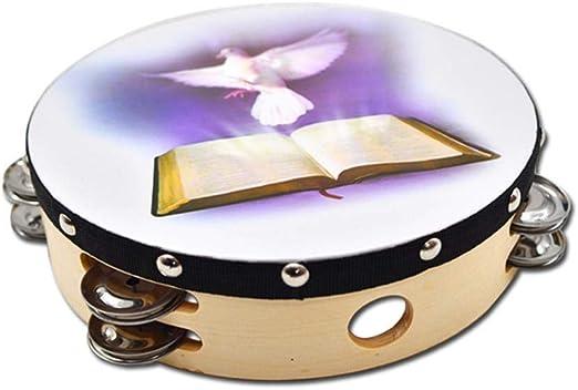 8 Dove /& Bible Double Row Jingle Percussion Tambourine for Church
