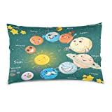 ALAZA Cartoon Solar System Planet Cotton Lint Pillow Case,Double-sided Printing Home Decor Pillowcase Size 16''x24'',for Bedroom Women Girl Boy