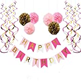 Happy Birthday Banner, With 6 Pom Pom Color Gold, Pink And Dark Pink, With 6 Hanging Swirls Pink and Gold, Birthday Decorations: more info
