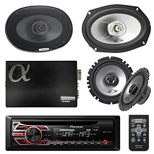 (Pioneer DEHS1100UB Single DIN Car Stereo Bundle - 2 Alpine 6x9 Car 2-Way Speaker - 2 Alpine 6.5