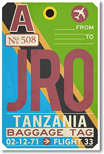 Jro - Tanzania - Airport Tag - New Travel Poster