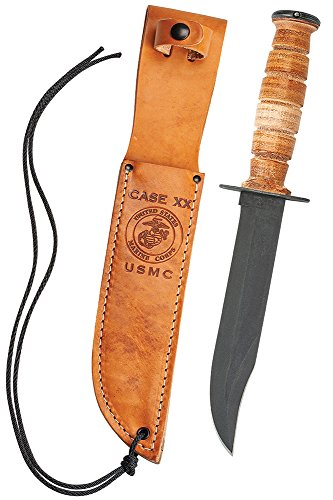 Case Military 00334 USMC Knife with Fixed 1095 Carbon Blade Genuine Leather Sheath Genuine Leather Handle