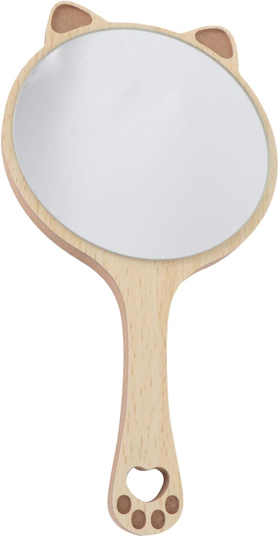 Cabilock Miroir de Maquillage de Poche en Forme Doreille de Chat Miroir Cosm/étique en Bois Portable Petit Miroir de Vanit/é Cosm/étique Rond Fournitures de Maquillage Accessoires pour