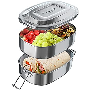 Stainless Steel Lunch Box Food Container. Two Layer Lunchbox with Divided Compartments. Easy Carry Strap and Secure Clips. Dishwasher Safe & Eco-Friendly Food Storage with Sections