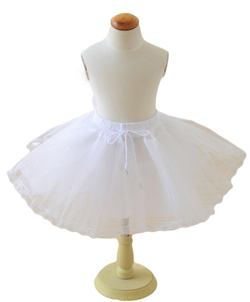 Sweetdress Kids Ball Gown Lace Edge Flower Girl Crinoline Petticoat Skirt Slips (One Size, White)