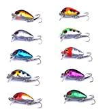 Aorace 10pcs/lot Mini Fishing Lures 10 Colors Fishing Bait 2.6cm/1.6g Fishing Tackle #10 High Carbon Steel Treble Hook For Sale