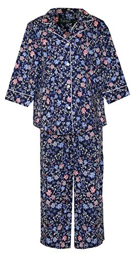 - Ralph Lauren Woven Floral Crop Pant Pajamas PJ's (Navy with Multi Floral Pink,Blue,White, Large)