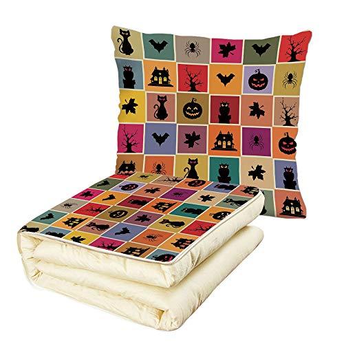 iPrint Quilt Dual-Use Pillow Vintage Halloween Bats Cats