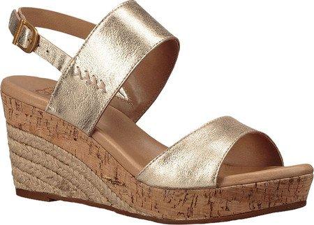 UGG Women's Elena Metallic Wedge Sandal, Gold, 7.5 US/7.5 B US (Gold Metallic Wedge Sandals)