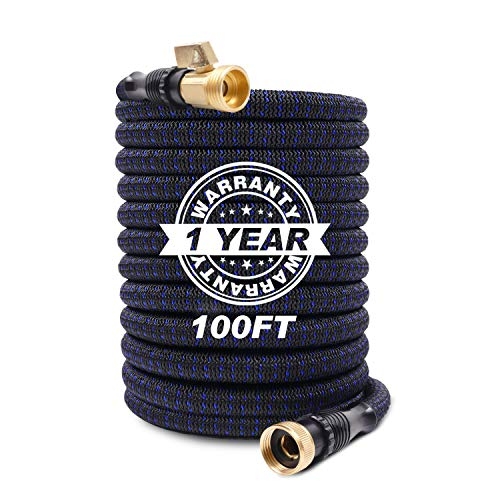 KAREEME Expandable Garden Hose 100ft Flexible Water Hose with Durable 3-Layers Latex Core, 3/4″ Solid Brass Fittings, Extra Strength 3750D Fabric, Fits All Sprayer Nozzle for Washing and Watering
