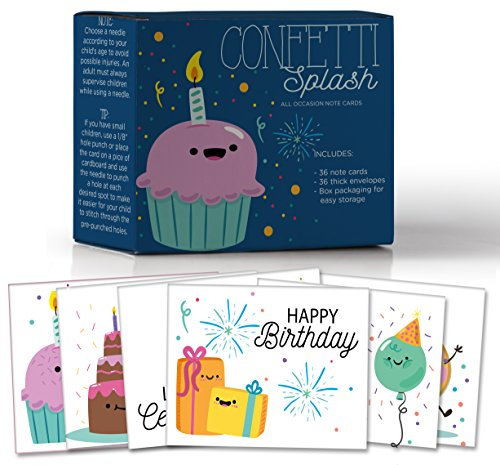 - Confetti Splash, Assorted Birthday Sewing Note Cards for Kids, Make Your Own Fun Greeting Cards, 6 Customizable Designs, Pack of 36 Blank on the Inside, Bulk Box Set, 36 Envelopes, 6.5 x 5.5 In.