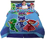 Franco Kids Bedding Super Soft Comforter with Sheets and Cuddle Pillow Bedroom Set, 6 Piece Full Size, PJ Mask