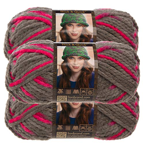 - Lion Brand Yarn (3 Pack Wool Ease Thick & Quick Super Chunky Yarn for Knitting Crocheting Soft Flamingo Pink Gray Yarn Bulky #6
