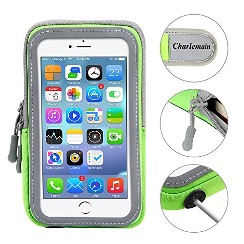 INNLIFE Sports Armband Sweatproof Running Armbag Gym Fitness Workout Cell Phone Case with Key Holder Wallet Card Slot for iPhone 7 Plus 6 Plus 6s Plus Samsung Galaxy S5 S6 S7 Edge 5.5 Inch (Green)