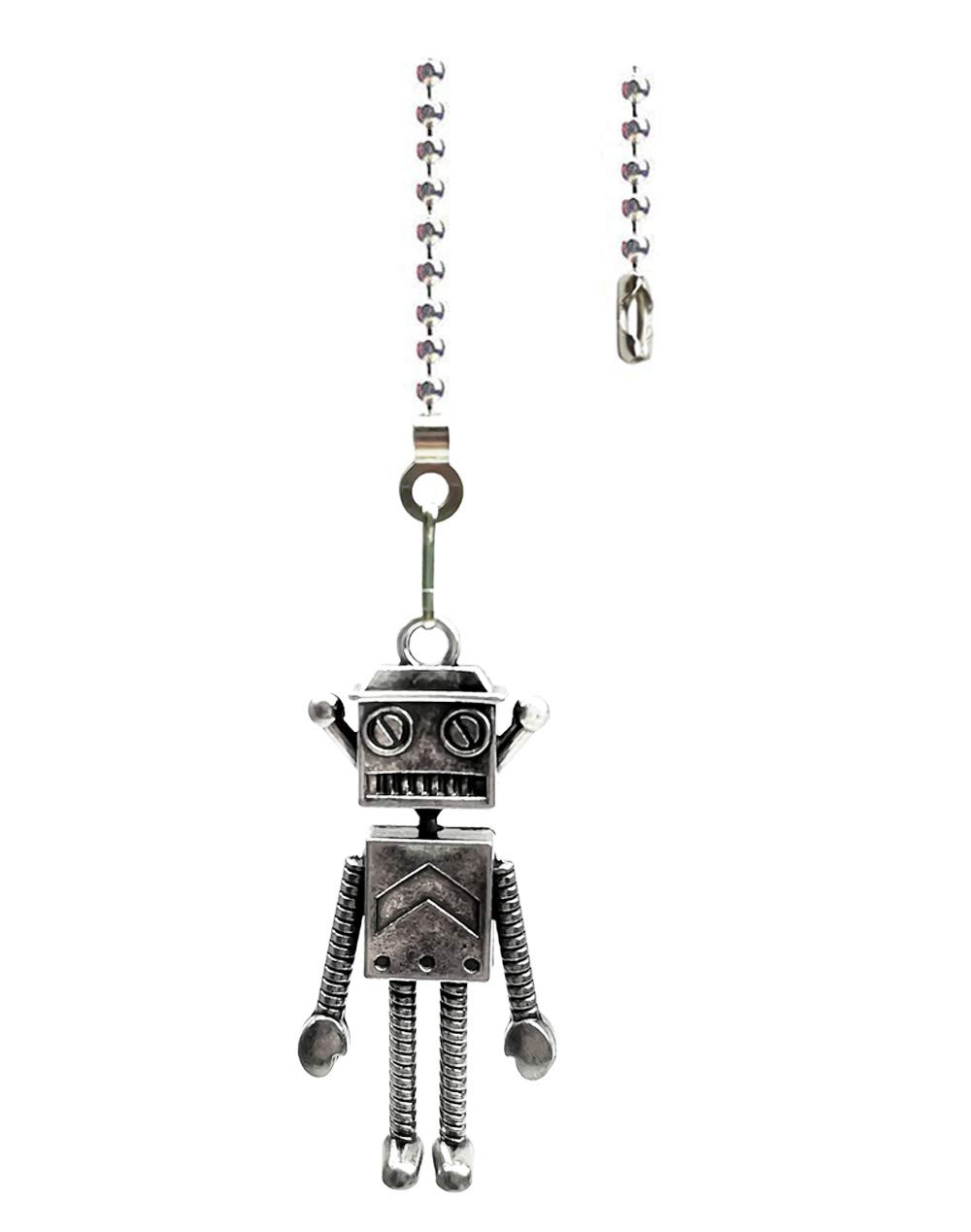 Hyamass 12 inch Antenna Robot Charm Pendant Ceiling Fan Danglers Fan Pulls Chain Extender with Ball Chain Connector