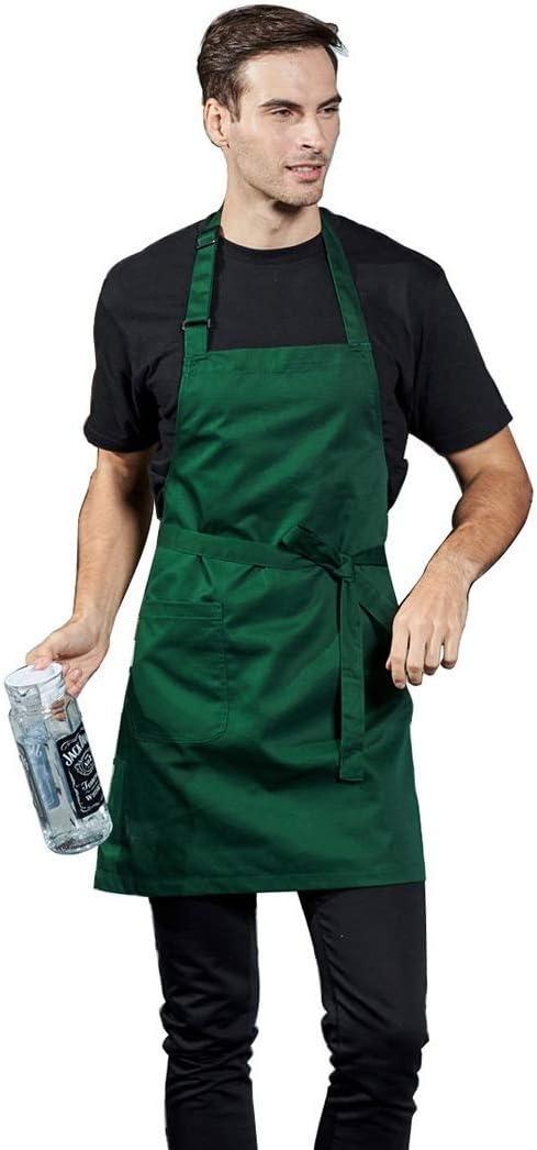 LissomPlume Adjustable Long Apron Unisex Home Kitchen Chef Bib Apron With Pocket Azure