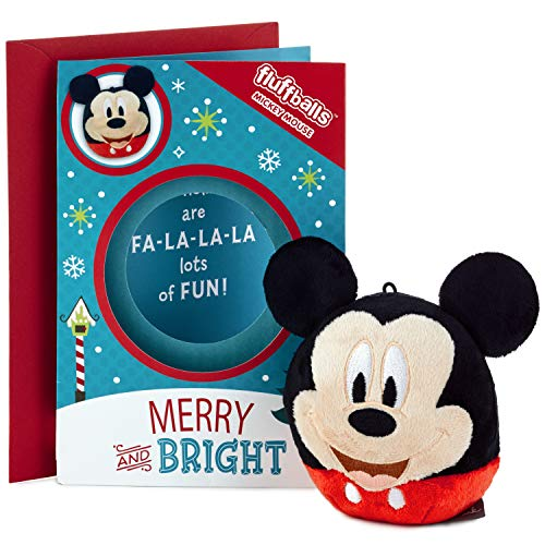(Hallmark Disney Mickey Mouse Christmas Card for Kid with Plush Toy (Mickey Mouse Fluffball))