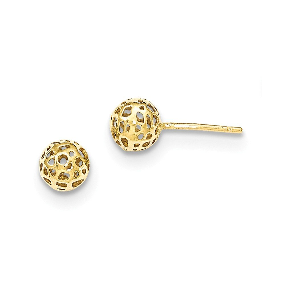 14K Yellow Gold Yellow Fancy Ball Post Earrings by Unknown