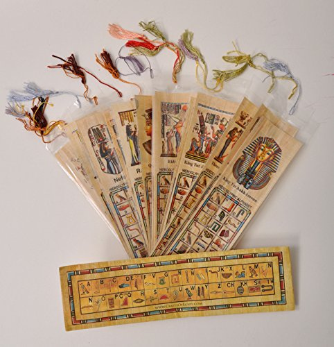 WHOLESALE LOT 10 EGYPTIAN ORIGINAL PAPYRUS BOOK MARKS (Egyptian Party Decorations)